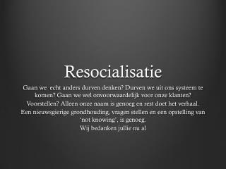 Resocialisatie