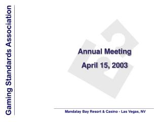 Annual Meeting April 15, 2003