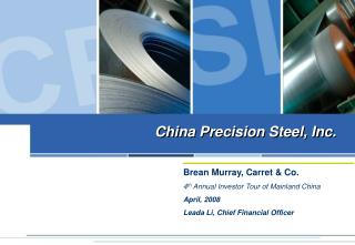 China Precision Steel, Inc.