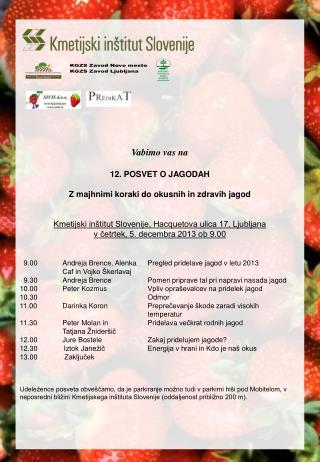 Vabimo vas na 12. POSVET O JAGODAH Z majhnimi koraki do okusnih in zdravih jagod