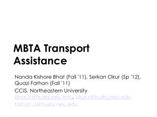 MBTA Transport Assistance