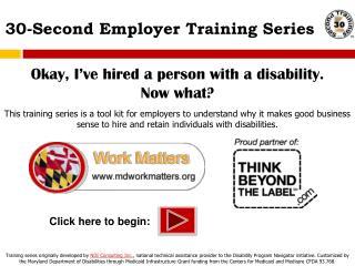 30-Second Employer Training Series