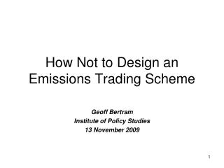 How Not to Design an Emissions Trading Scheme