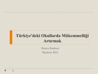 Türkiye'deki Okullarda Mükemmelliği  Artırmak
