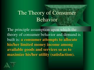 The Theory of Consumer Behavior