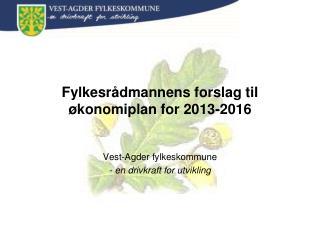 Fylkesrådmannens forslag til økonomiplan for 2013-2016