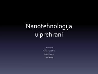 Nanotehnologija  u prehrani