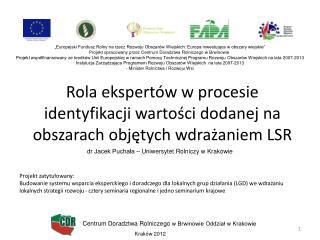 Rola ekspertów w procesie identyfikacji wartości dodanej na obszarach objętych wdrażaniem LSR