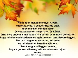 Hálát  adok Neked mennyei Atyám,  szeretett  Fiad, a Jézus Krisztus által,