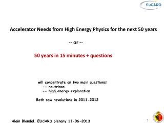Accelerator Needs from High Energy Physics for the next 50 years 	  		        -- or --