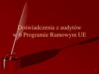 Doświadczenia z audytów  w 6 Programie Ramowym UE