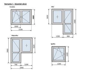 Varianta  I – klasické okná