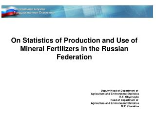 On Statistics of Production and Use of Mineral Fertilizers in the Russian Federation