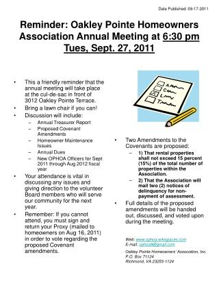 Reminder: Oakley Pointe Homeowners Association Annual Meeting at  6:30 pm Tues, Sept. 27, 2011