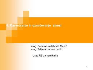 mag. Semira Hajrlahović Mehić mag. Tatjana Humar- Jurič   Urad RS za kemikalije