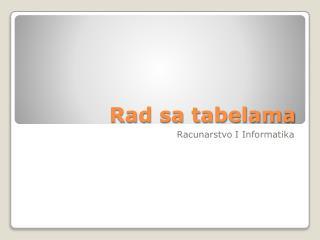 Rad sa tabelama