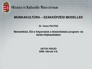 MUNKAKULTÚRA – SZAKKÉPZÉSI MODELLEK Dr. Veres Pál PhD