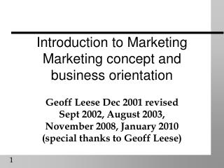 Introduction to Marketing  Marketing concept and business orientation