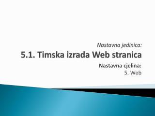 Nastavna jedinica:  5.1. Timska izrada Web  stranica