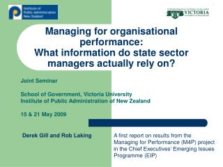 Managing for organisational performance:  What information do state sector managers actually rely on