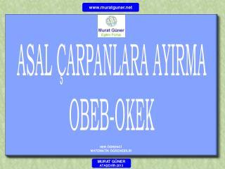 ASAL ÇARPANLARA AYIRMA OBEB-OKEK