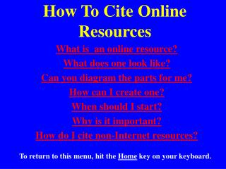 How To Cite Online Resources
