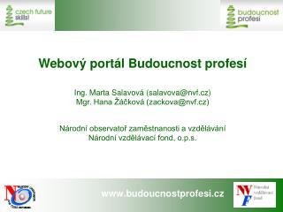 Webový portál Budoucnost profesí Ing. Marta Salavová (salavova@nvf.cz)