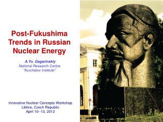 Innovative Nuclear Concepts Workshop Liblice, Czech Republic  April 10--13, 2012