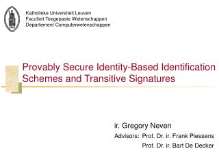 Provably Secure Identity-Based Identification Schemes and Transitive Signatures