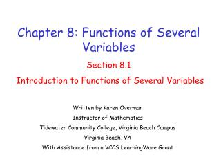 Chapter 8: Functions of Several Variables Section 8.1  Introduction to Functions of Several Variables