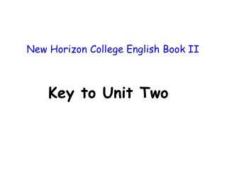 New Horizon College English Book II