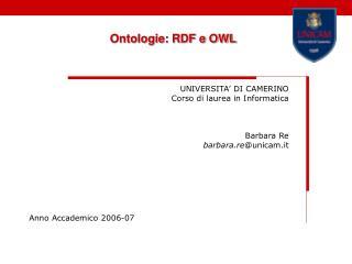 Ontologie: RDF e OWL