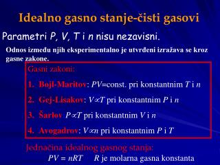 Ideal no gasno stanje-čisti gasovi