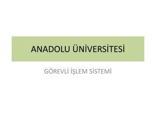 ANADOLU ÜNİVERSİTESİ