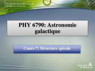 PHY 6790: Astronomie galactique