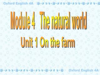 Module 4   The natural world