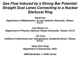 David Yen Department of Mathematics, Fu-Jen Catholic University, Taiwan, R.O.C. Lien-Hsuan Lin