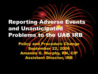 Reporting Adverse Events and Unanticipated Problems to the UAB IRB