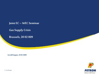 Joint EC – WEC Seminar Gas Supply Crisis  Rrussels, 20 02 009