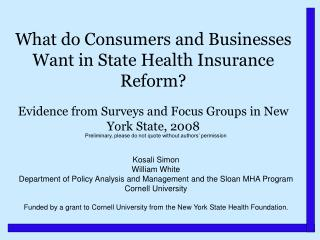 What do Consumers and Businesses Want in State Health Insurance Reform?