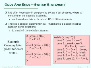 Odds And Ends – Switch Statement
