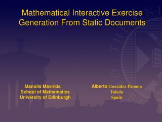 Mathematical Interactive Exercise Generation From Static Documents