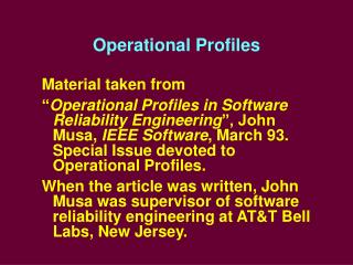 Operational Profiles