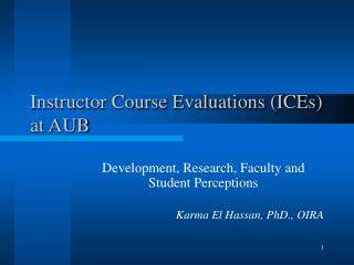 Instructor Course Evaluations (ICEs) at AUB