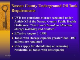 Nassau County Underground Oil Tank Requirements