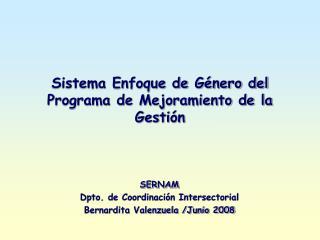 Sistema Enfoque de Género del Programa de Mejoramiento de la Gestión