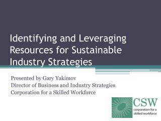 Identifying and Leveraging Resources for Sustainable Industry Strategies