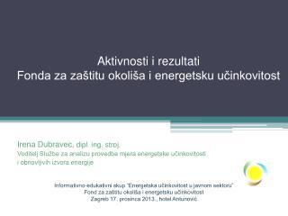 Aktivnosti i rezultati  Fonda za zaštitu okoliša i energetsku učinkovitost