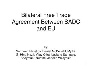Bilateral Free Trade Agreement Between SADC and EU