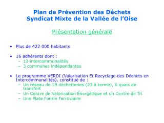 Plan de Prévention des Déchets  Syndicat Mixte de la Vallée de l'Oise